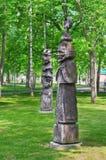Wooden sculptures  figures of fantastic heroes Stock Photo