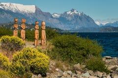 Wooden sculptures at Nahuel Huapi Lake Royalty Free Stock Photo