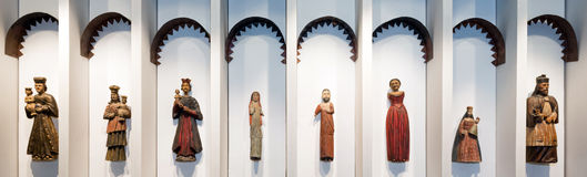 Wooden sculptures on Slanica Island, Slovakia royalty free stock photos