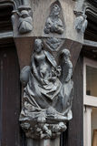 Wooden sculptures on the wall of the house. Tours, Royalty Free Stock Photos