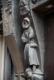 Wooden sculptures on the wall of the house. Tours Stock Image