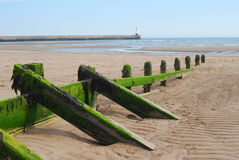Wooden sea barrier at Spittal and lighthouse Royalty Free Stock Photography