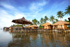 Wooden sea chalet at an Indonesian beach resort Stock Image