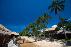 Wooden sea chalet at an Indonesian beach resort Royalty Free Stock Images