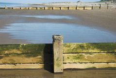 Wooden Sea Groyne Stock Photo