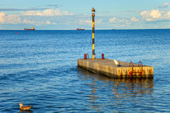 Wooden sea mooring Royalty Free Stock Photo