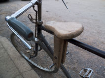 Wooden seat on a bike. Royalty Free Stock Photography
