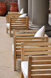 Wooden seat in grand yard Stock Photo