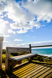 Wooden seat with Sea and blue sky4. Wooden seat with Sea and blue sky Royalty Free Stock Images