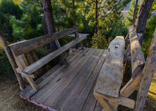 Wooden seat in valley Royalty Free Stock Photo