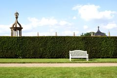 Wooden seat. Wooden bench in a garden Stock Photo