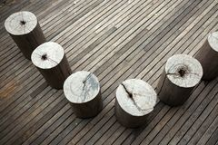 Wooden seat on a wooden floor. royalty free stock photography