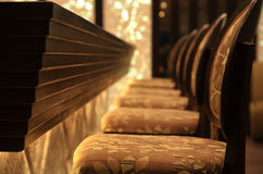 Wooden seats on a bar. Interior of a lounge bar with seats Stock Photos