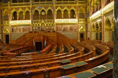 Wooden seats in government in Budapest parliament royalty free stock photography