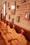 Wooden seats in an orthodox church Royalty Free Stock Photography