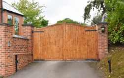 Free Wooden Security Gate With Keypad Lock Royalty Free Stock Photo - 124368545