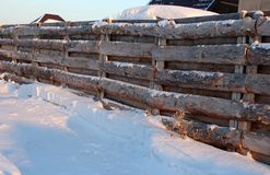 Wooden self-made fence of roughly hammered boards in the Siberian village in winter. Wooden self-made fence of roughly hammered boards in the Siberian village in royalty free stock photo