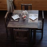 Wooden served table in restaurant Royalty Free Stock Photo