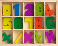 Wooden set for training to arithmetics Royalty Free Stock Image