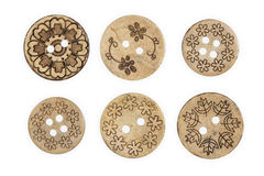 Wooden sewing button Stock Photography