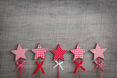 Wooden shabby christmas background with red and white checkered Royalty Free Stock Image