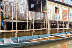 Wooden Shack in Iquitos, Peru. Wooden shack and canoe in Belen neighborhood of Iquitos, Peru stock photo