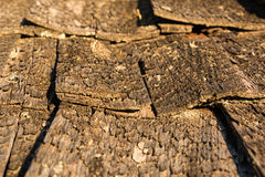 Wooden shakes of an old shingle roof Stock Photo