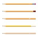 Wooden sharp pencils set isolated on white background. Royalty Free Stock Photo