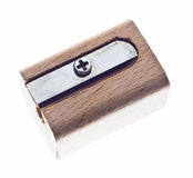 Wooden sharpener. Nice wooden sharpener on white isolated background Stock Images