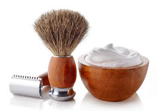 Wooden shaving accessories royalty free stock photography