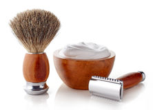 Wooden shaving accessories stock photo