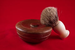 Wooden shaving soap bowl and brush Stock Image