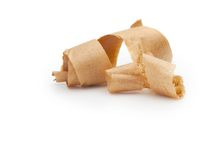 Wooden shavings isolated on white. Royalty Free Stock Image