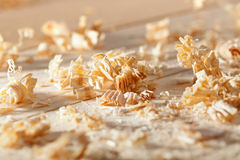 Wooden shavings on the workbench Royalty Free Stock Photography