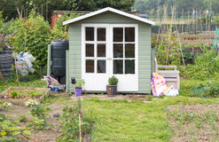 Wooden shed on an allotment garden Royalty Free Stock Photo