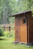 Wooden shed in garden stock photos