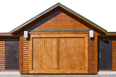 Wooden shed with stell armed doors Royalty Free Stock Photos