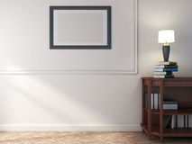 Wooden shelf with books and lamp. 3D illustration.  Stock Photography