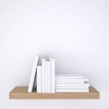 Wooden shelf with books on white wall background. 3d render Royalty Free Stock Photos