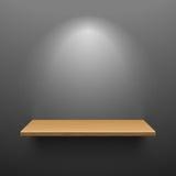 Wooden shelf on dark wall royalty free illustration
