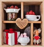 Wooden shelf decorated for Valentine Stock Image
