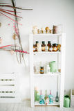 Wooden shelf with decorative elements Royalty Free Stock Photography