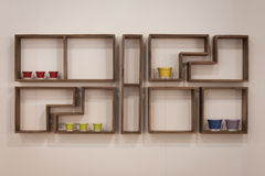 Wooden shelf on dislay at HOMI, home international show in Milan, Italy Royalty Free Stock Image