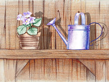 Wooden shelf with flower pot Royalty Free Stock Photo