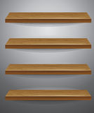 Wooden shelf on grey background Stock Photo