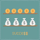 Wooden shelf with money bags, coins, word success and dollar sig Stock Photo