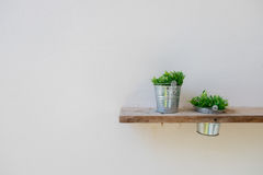 Wooden shelf on mortar wall with vase plant stock photos