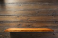 Wooden shelf at plank background texture. Wall stock photos