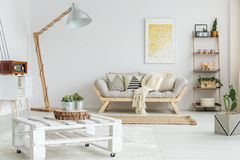 Wooden shelf next to designed sofa. Wooden shelf with plants, balls and candles next to designed sofa with patterned pillows stock images