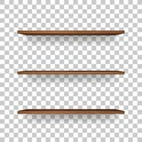 Vector uploads are temporarily disabled. We apologize for the inconvenience. Wooden shelf on transparent background with soft shadow. 3D empty wooden shelves vector illustration